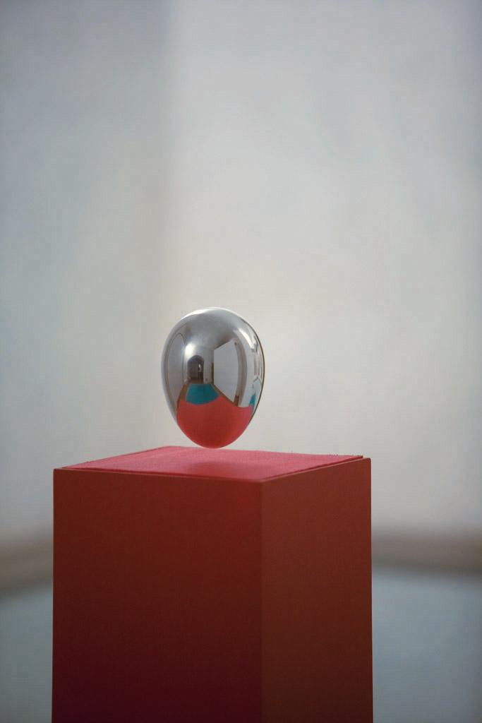 [Electromagnetic levitation fields, polished aluminium, martial art tatami, variable dimensions.]