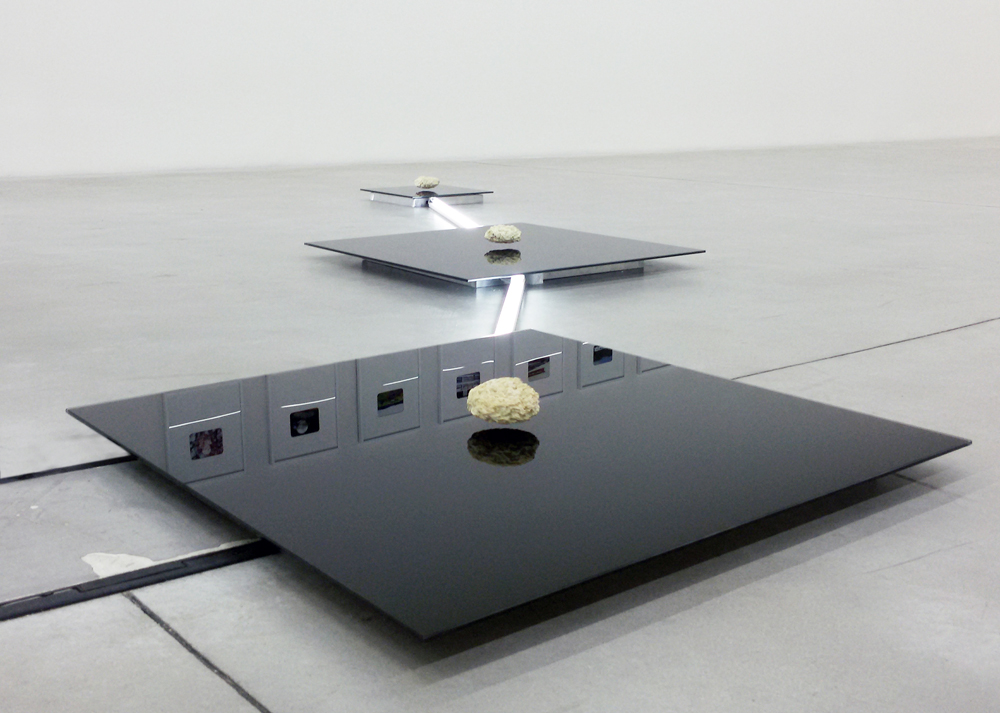 Luca Pozzi, Trinity Platform [Coordinates – Giza complex + Orion Constellation], 2014. 300×400 cm, Exhibition view, Galleria Enrico Astuni, Bologna.