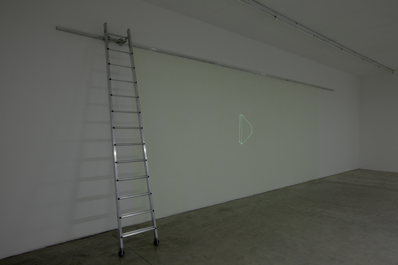 Ladder, luminescent paint, UV led, 900x350x50 cm