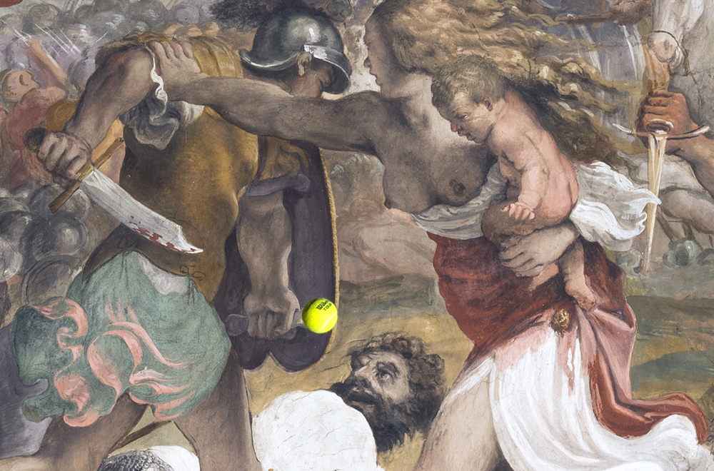 Wilson Tour (The battle between Romans and Sabini), 2017. (detail of a real wilson tennis ball launch)